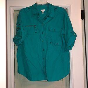 Chico's camp shirt 3/4 sleeve